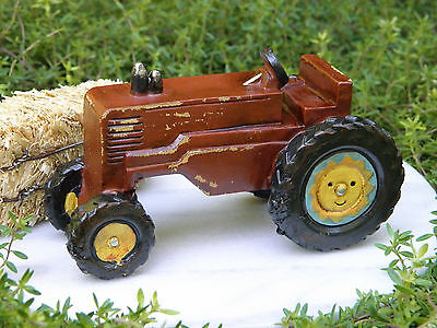 Miniature Dollhouse FAIRY GARDEN Furniture ~ Country Farm Rustic Red Tractor NEW
