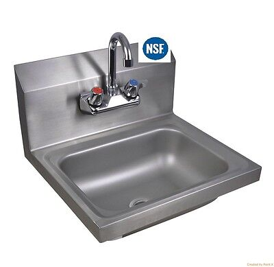 Commercial Stainless Steel Wall-Mount Hand Sink - 12 X 12 NSF