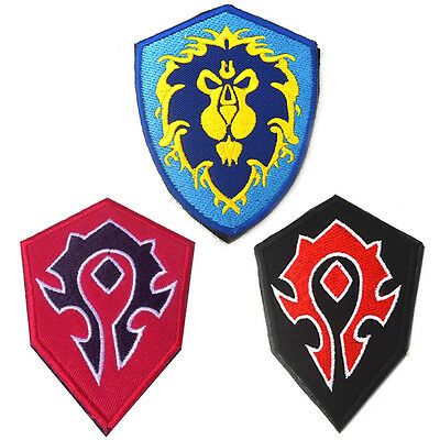World of Warcraft Alliance Horde Flag Patches WOW BADGE Embroidered Patch