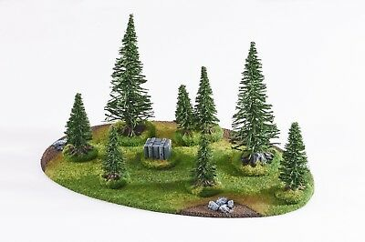 Wargame scenery LARGE FOREST - 10 pieces - Warhammer Bolt Action 28mm painted