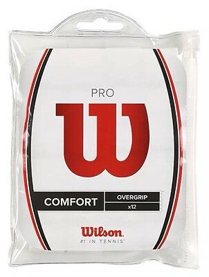 Wilson Pro Overgrip  -  Pack Of 12 Grips - Comfort - White - Rrp £30