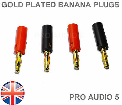 8x Gold Banana Plugs 4mm QUALITY (4 Pairs) For Speaker Wire  & Amps Hi-Fi - UK