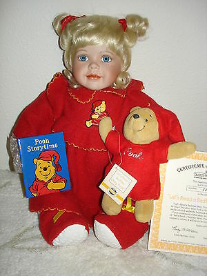 "Ashton Drake Disney's ""Let's Read a Bedtime Story, Pooh""  Porcelain Girl Doll"