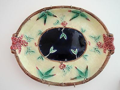 Gorgeous Antique English Majolica Bread Plate Platter Cobalt Blue 1850's