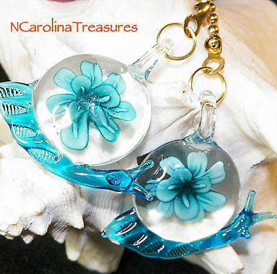 Glass Ceiling Fan Chain Light Switch Pulls Aqua Snail Floral Burst Large Pair