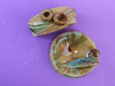 Vintage 2X Small Australian Art Pottery Signed Deco w Gum Leaf- Gum Nuts 1940.S