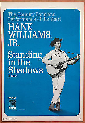 Hank Williams Jr Standing In The Shadows 1966 Vintage Promo Ad