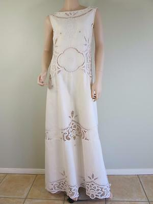 OOAK 'Elithe'  Antique Battenburg Lace Bohemian Embroidery Cotton Wedding Dress