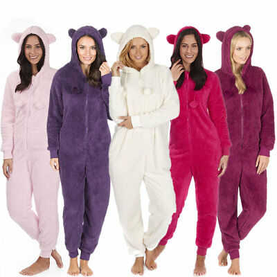 ONEZEE Ladies Hooded With Ears Animal Design Onezie All-In-One Snuggle Fleece