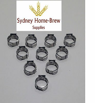 10 Stainless Stepless Clamps,  6-8mm OD, homebrew, brewery, beer line, gas line