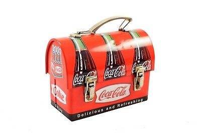 Coca Cola Metal Domed Lunchbox Christmas Collectible Ornament w/ Candy -Coke