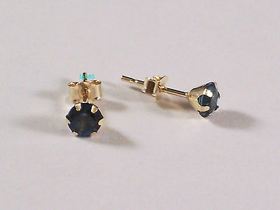 New 9ct or 9Carat Yellow Gold London Blue Topaz Studs Earrings 4mm Hallmarked