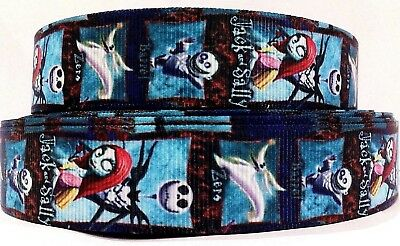 NIGHTMARE BEFORE CHRISTMAS GROSGRAIN RIBBON - 1 YARD - 22mm wide - crafts