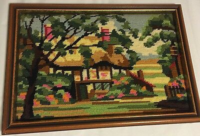 """Vintage Framed 10 X 14"""" Needlepoint Beautifully Done And Colored."""