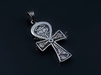Large Egyptian Solid Sterling Silver Life Key Ankh With Scarab and Lotus Charm