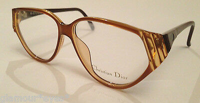 VTG DIOR EyeGlasses GLASSES Lunette Brille 2373 Brown Beige Frame ROUND CAT EYE