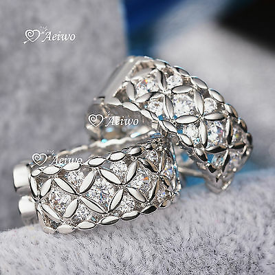 18K White Gold Gf Huggies Made With Swarovski Crystal Earrings Filigree