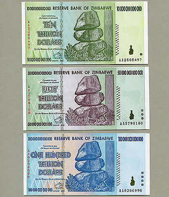 Zimbabwe 100 50 10 Trillion Dollars banknotes set AA 2008 UNC currency bills