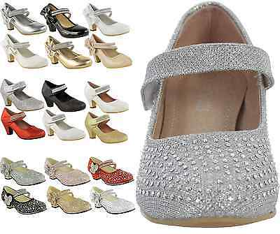 Childrens Girls Kids High Mid Heel Diamante Party Bridesmaid Sandals Shoes