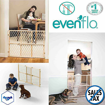 Evenflo Baby Gate Wood Fence Child Safety Door Pet Dog Cat Protection Barrier