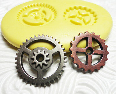 Silicone Resin Fondant FIMO Polymer Metal Clay Flexible Mold STEAMPUNK Gears Set