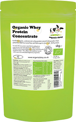 Organic Whey Protein Powder 1kg Grass Fed Hormone Gluten Soy Free Concentrate