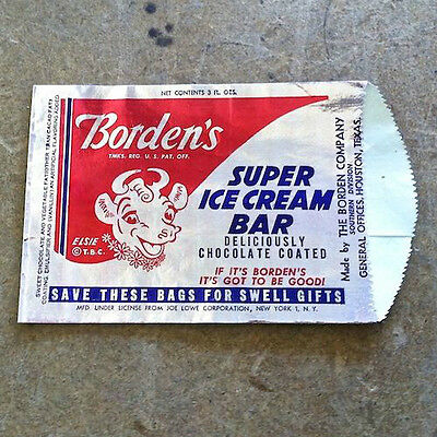2 Vintage Original BORDEN'S SUPER ICE CREAM BAR Bag 1950s Unused Old Stock