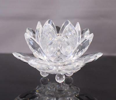 "Signed Swarovski Crystal Water Lily Taper Candleholder 3"" Lotus Flower"