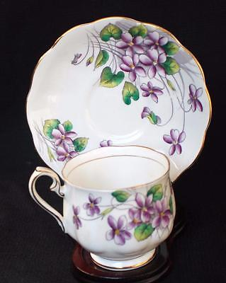 Vntg ROYAL ALBERT Bone China England VIOLET Flower of Month #2 Set Cup & Saucer