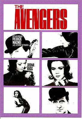 AVENGERS REPRO A4 CARD DISPLAY STAND. Cult TV, 60's TV, Mod.