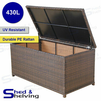 430L Outdoor Rattan Storage Box PE Wicker Chest Garden Deck Toy Brown