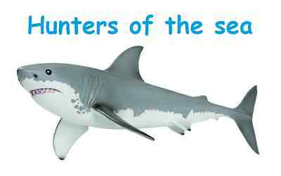 White Shark Figure Kinder Kids Toys Hunters Sea Jaws Model Collectible Decor New