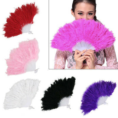 UK Hand Held Soft Feather Fan Burlesque 20s Flapper Wedding Ladies Fancy Dress