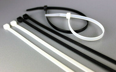 250 x CABLE TIES BLACK WHITE NYLON TIES, ZIP TIES CABLE TIDY VARIOUS 100-300mm