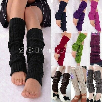 Women Winter Warm Knit Crochet High Knee Leg Warmers Leggings Boot Socks 2019