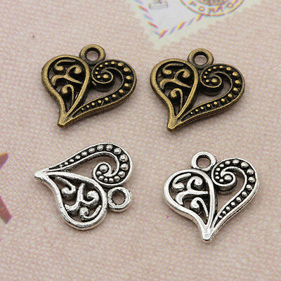 20Pcs Tibet Silver Hollow Heart Charms Pendants Antique Beaded Jewelry Findings