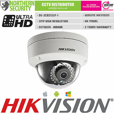 UK MODEL HIKVISION DS-2CD2132F-I 4mm 3MP 2MP 1080P Dome Onvif HD IP Camera POE