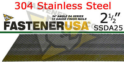 """DA25 15 Gauge 304 Stainless Steel Angled Finish Nail 34 Degree 2 1/2"""" (1,000ct)"""