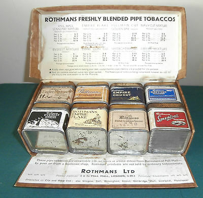 Vintage Rothmans Octet Boxed Advertising Set Of Tobacco Tins