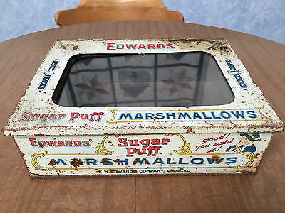 Antique Advertising Tin Edwards Sugar Puff Marshmallows Country Store Display
