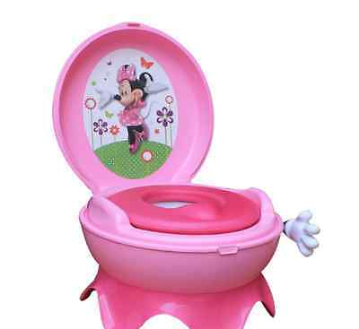 Tomy Disney Minnie Mouse 3-in-1 Pink Girls Potty Chair Training Seat Kids Toilet