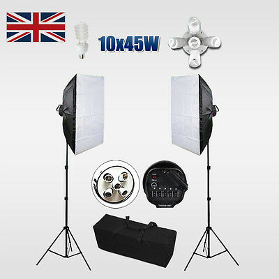 1350W Photo Studio Softbox Continuous Lighting Light Stand Screen Backdrop Kit