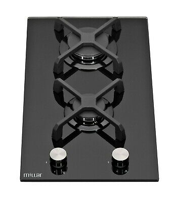 MILLAR GH3020KB 30cm Built-in 2 Burner Domino Gas on Glass Hob with FFD