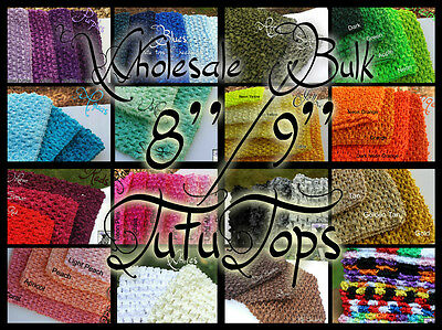 "USA WHOLESALE BULK LOT 9"" / 8"" crochet tube top tutu top / headbands"