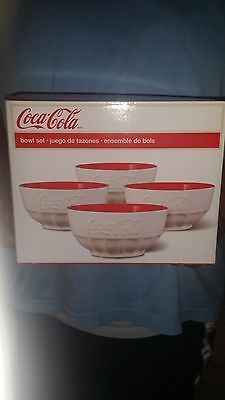 Coca-Cola Set of Four Bowls 5.5 inches! BRAND NEW! NEVER BEEN OPENED!