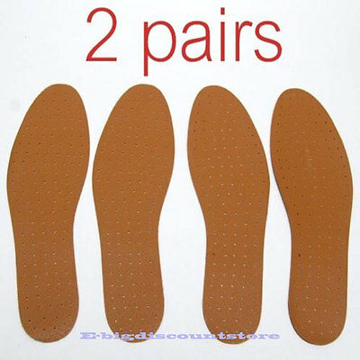 2 pairs Synthetic Leather INSOLE Shoe Insert Pads Comfort Cushioning UNISEX NEW!
