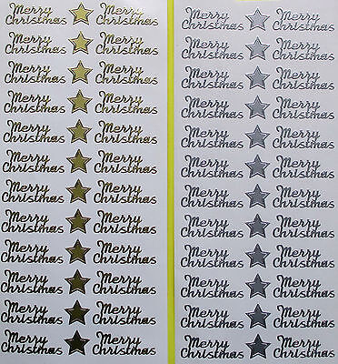 MERRY CHRISTMAS Style 3 PEEL OFF STICKERS Stars Cursive Script Cardmaking