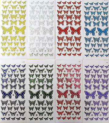 BUTTERFLIES Diamond Shimmer Holographic PEEL OFF STICKERS Butterfly