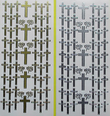 Various Size Crosses & Roses PEEL OFF STICKERS Cross Sympathy Religion
