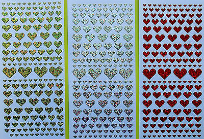 HEARTS Diamond Shimmer Holographic PEEL OFF STICKERS Various Sizes